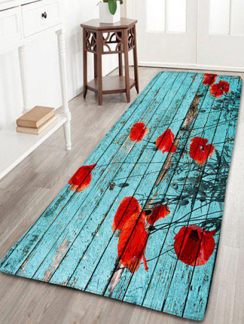 Vintage Wood Grain Flower Flannel Skidproof Rug - LAKE BLUE W16 INCH * L47 INCH