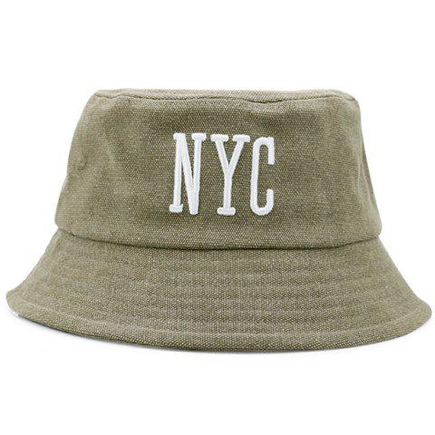 Letters Embroidered Sunscreen Fisherman Cap - OLIVE GREEN