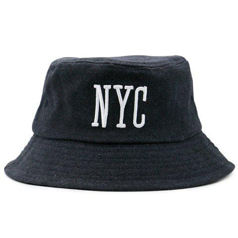 Letters Embroidered Sunscreen Fisherman Cap - FULL BLACK
