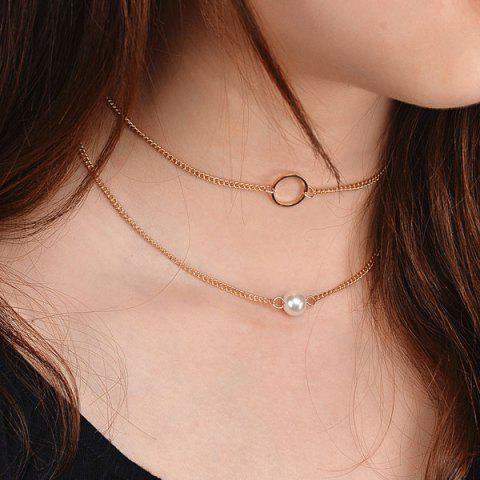 Artificial Pearl Circle Collarbone Necklace Set - GOLDEN