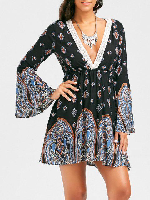 Plunging Neck Long Sleeve Paisley Bohemian Tunic Dress - BLACK S