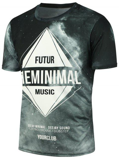 Short Sleeves 3D Galaxy Graphic Printed T-shirt - COLORMIX 2XL