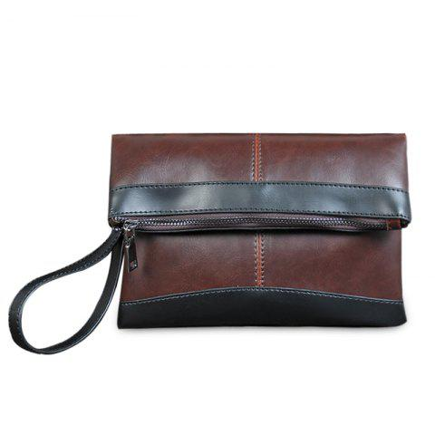 Fold Down Contrast Color Clutch Bag - DEEP BROWN