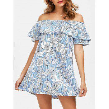 Off The Shoulder Striped Floral Print Dress