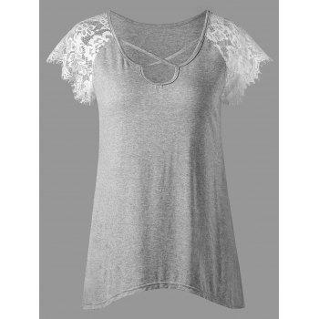 Marled Criss-cross Lace Panel T-shirt
