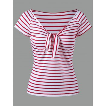V Neck Stripe Knot T-shirt