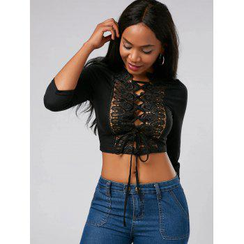 Cut Out Lace Up Crop Top - BLACK L