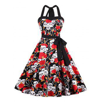 Vintage Halter Floral Skull Print Fit and Flare Dress