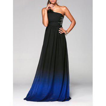 Rhinestone One-Shoulder Sleeveless Ombre Prom Pleated Dress