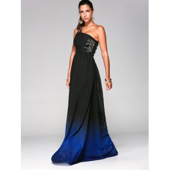 Rhinestone One-Shoulder Sleeveless Ombre Prom Pleated Dress - DEEP BLUE L