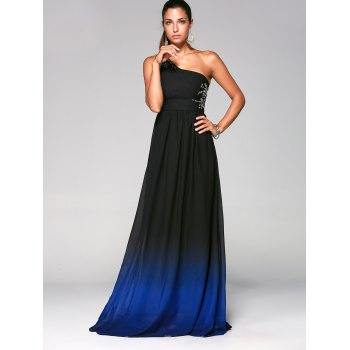 Rhinestone One-Shoulder Sleeveless Ombre Prom Pleated Dress - DEEP BLUE XL