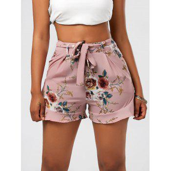 High Waisted Ruffle Trim Floral Shorts