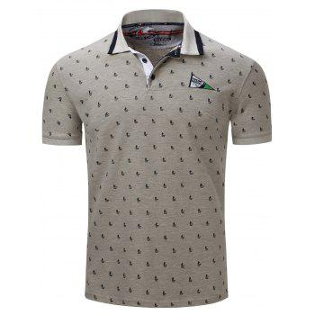 Sailing Print Embroidered Short Sleeve Polo T-Shirt