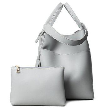 PU Leather Pouch Bag and Convertible Handbag - GRAY GRAY