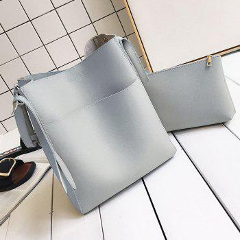 PU Leather Pouch Bag and Convertible Handbag -  GRAY
