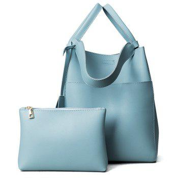 PU Leather Pouch Bag and Convertible Handbag - BLUE BLUE