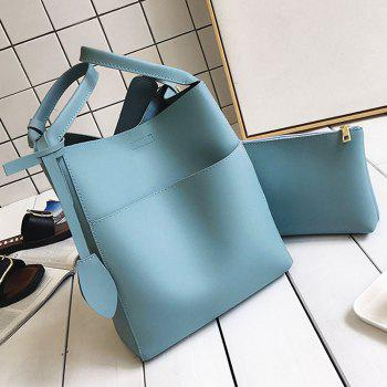 PU Leather Pouch Bag and Convertible Handbag -  BLUE