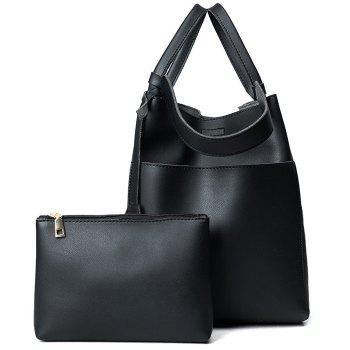 PU Leather Pouch Bag and Convertible Handbag - BLACK BLACK