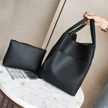 PU Leather Pouch Bag and Convertible Handbag -  BLACK