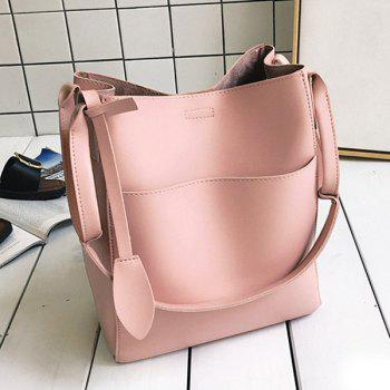 PU Leather Pouch Bag and Convertible Handbag -  PINK