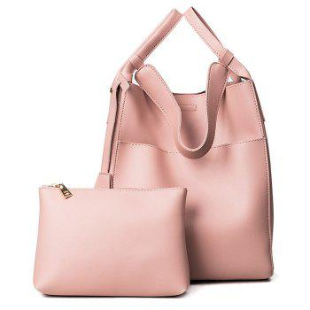 PU Leather Pouch Bag and Convertible Handbag - PINK PINK
