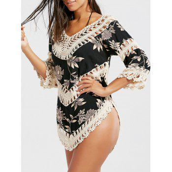 Crochet Panel Floral Tunic Beach Cover-Up