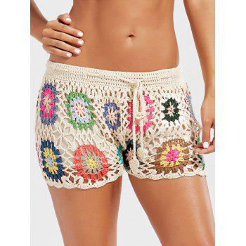 Flower Crochet Drawstring Beach Shorts