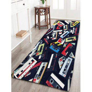 Magnetic Tape Print Flannel Skidproof Bathroom Rug