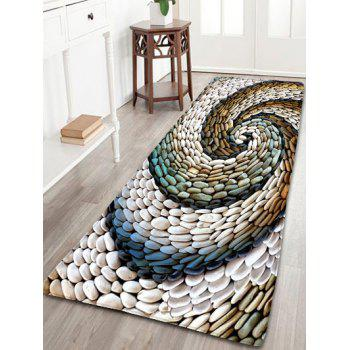 Wonderful Bathroom Flannel Whirlwind Pebbles Printed Skidproof Rug