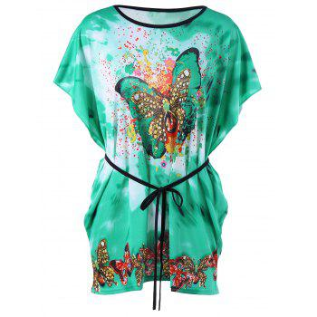 Butterfly Print Tie Dye T-Shirt with Belt