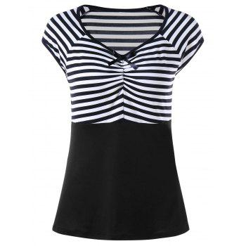 Striped Empire Waist Cap Sleeve T-shirt