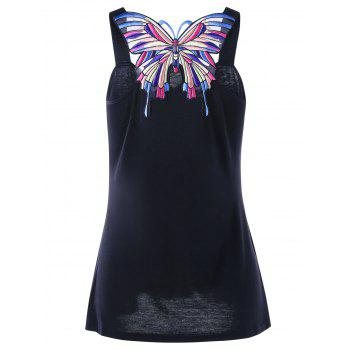 Butterfly Appliqued Sweetheart Neck Tank Top