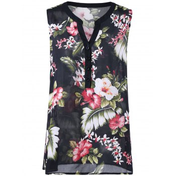 Plus Size Floral Sleeveless Henley Blouse