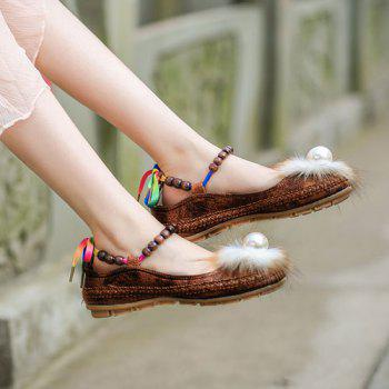 Beading Faux Fur Flat Shoes