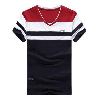Two Tone Striped V Neck Tee