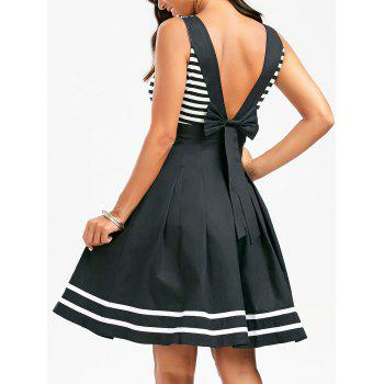 Stripe Skater Dress with Deep V Back