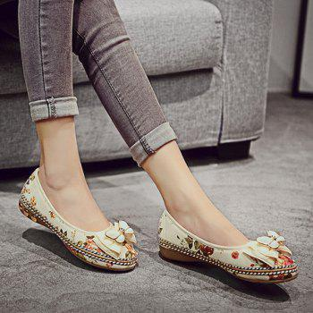 Bow Flower Print Flat Shoes