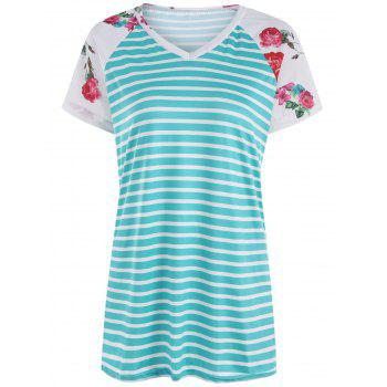 Floral Raglan Sleeve Striped Tunic T Shirt