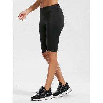 High Waist Knee Length Leggings with Pockets - BLACK BLACK