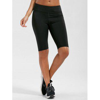 High Waist Knee Length Leggings with Pockets - BLACK L