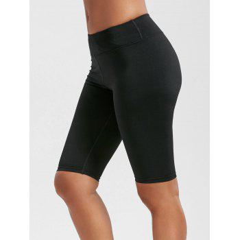 High Waist Knee Length Leggings with Pockets