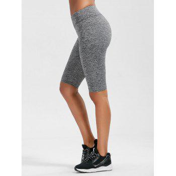 High Waist Knee Length Leggings with Pockets - GRAY GRAY