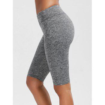 High Waist Knee Length Leggings with Pockets - GRAY L