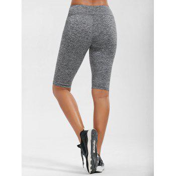 High Waist Knee Length Leggings with Pockets - L L