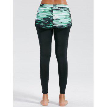 Ombre Printed Fitness Leggings with Shorts Bottom - BLACK BLACK