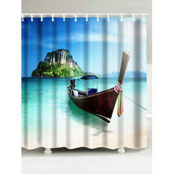 Scenic Boat Island Fabric Shower Curtain