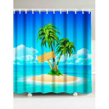 Beach Theme Coconut Palm on Island Shower Curtain