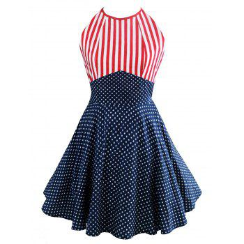Halter American Flag Print Mini Dress
