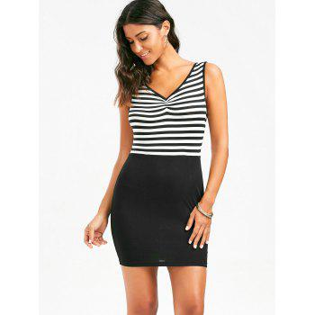 Stripe Sleeveless Deep V Back Bodycon Dress - COLORMIX 2XL
