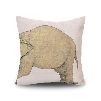 Elephant Print Decorative Linen Pillow Case - BEIGE BEIGE